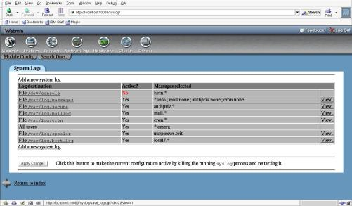 Figure 1. Webmin system log view