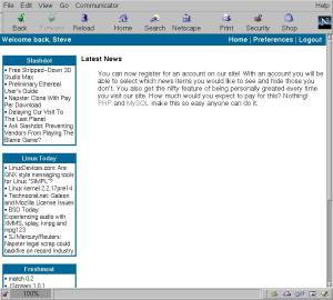 Screen capture shows news in small left column and site content in wide right column